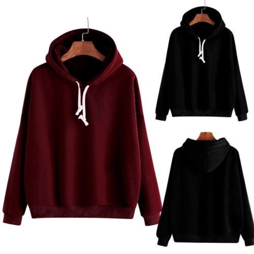 New Women Classic Solid Zip Up Hoodie Zipper SweatShirts Long Sleeve Top