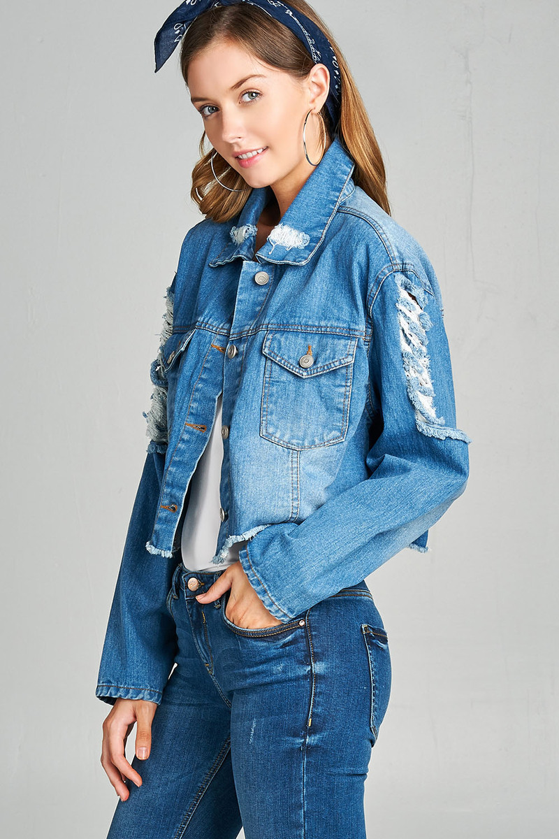 Cali Chic Juniors' Jacket Cropped Distressed Denim Jacket