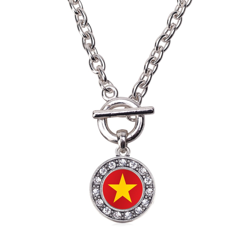 Vietnam Flag Circle Charm Toggle Necklace
