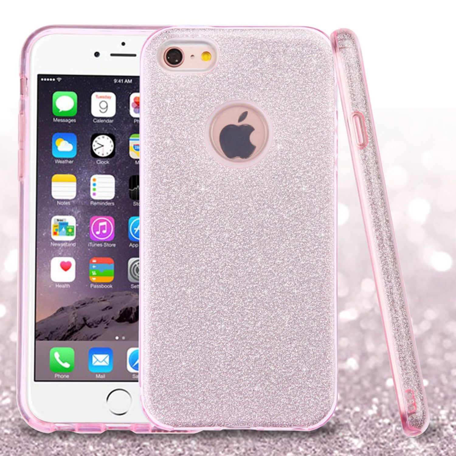 iPhone 6s Plus Case, iPhone 6 Plus Case, by ASMYNA Pink Full Glitter Hybrid Hard PC/TPU Dual Layer Protective Case Cover For Apple iPhone 6s Plus / 6 Plus