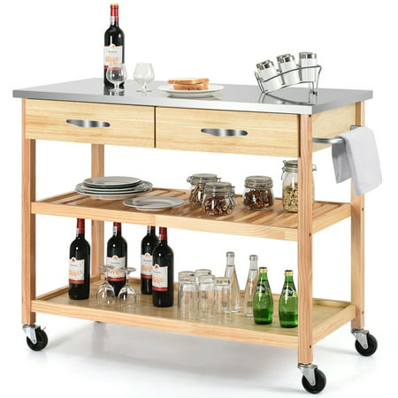 Bar Island Countertop - Costway Rolling Kitchen Trolley Cart Stainless Steel Countertop w/ Storage Drawer&Shelf