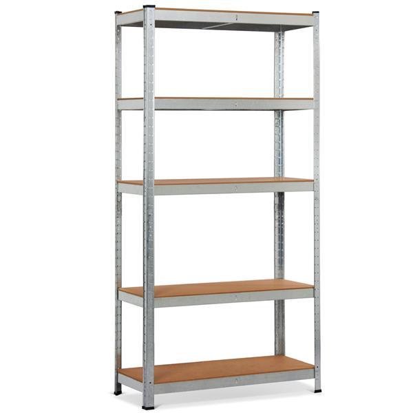 "Yaheetech 71"" 5 Level Shelf Shelving Unit,Heavy Duty Metal Adjustable Garage Storage Shelf Silver,35.4 x 15.7 x 71''(LxWxH)"