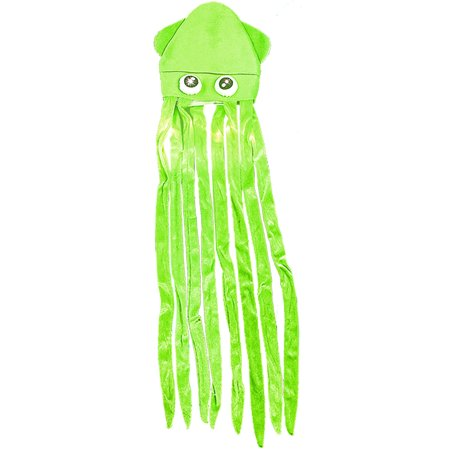 Light Up Caps (Novelty Green Lite Up Squid With Long Tentacles Party Hat Cap Costume)