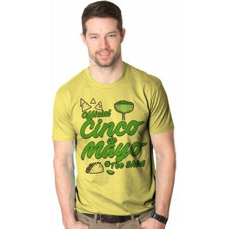 Crazy Dog TShirts - Mens Official Cinco de Mayo Tee Funny Taco Mexico Drinking T shirt (Yellow) - Yellow