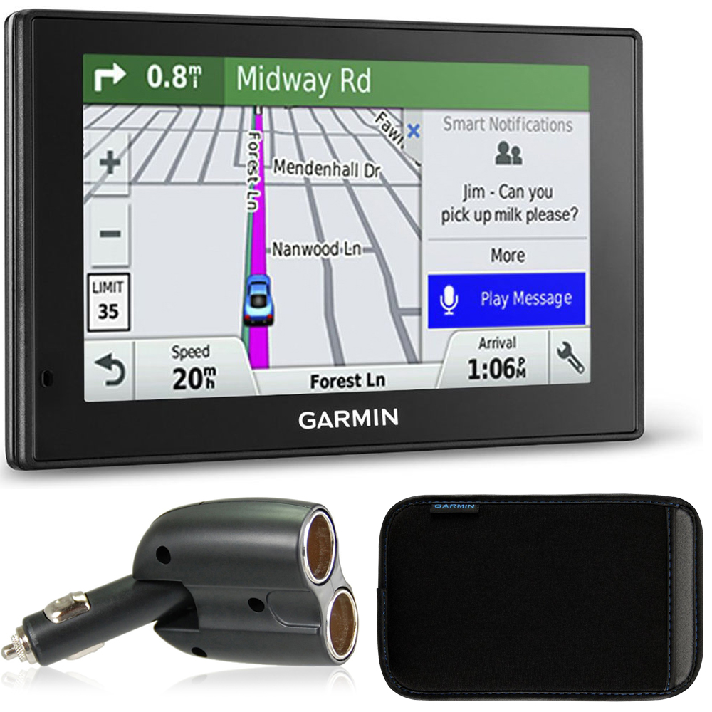 Garmin 010-01539-01 DriveSmart 50LMT GPS Navigator Charger Bundle includes Garmin DriveSmart 50LMT, UGC-102-BL Dual 12V Car GPS Charger and 5 inch Protect, Stow and Carry Soft Case