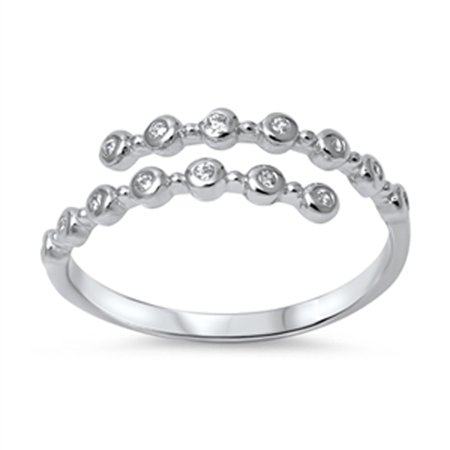 Sterling Silver Dots - Women's Open Fashion Clear Dot Ring New .925 Sterling Silver Band Size 6