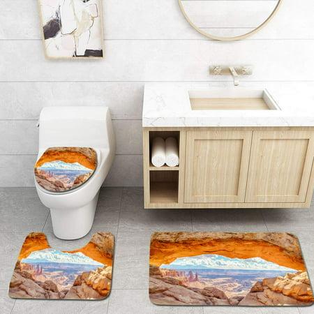 XDDJA Mesa Arch at Sunrise Canyonlands National Park Utah USA 3 Piece Bathroom Rugs Set Bath Rug Contour Mat and Toilet Lid Cover - image 1 of 2