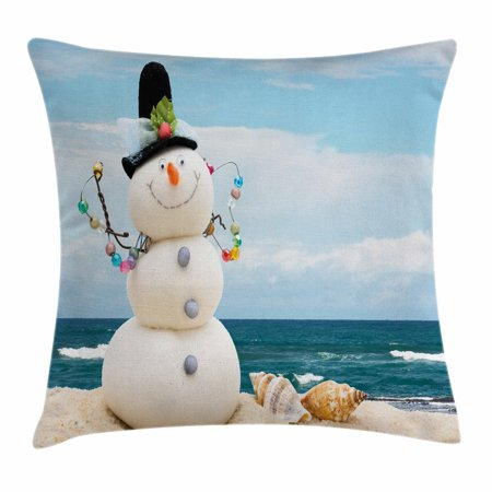 Snowman Throw Pillow Cushion Cover, Winter Vacation Holiday Theme Snowman with Seashells Sitting on Sandy Beach Coastal, Decorative Square Accent Pillow Case, 20 X 20 Inches, Multicolor, by Ambesonne - Snowman On The Beach