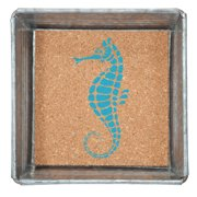 Seahorse Napkin or Trinket Tray Square Galvanized Metal and Printed Cork 5 Inch