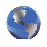 Badash 3 in. diam. Hand Painted Silver Crystal Desk Globe