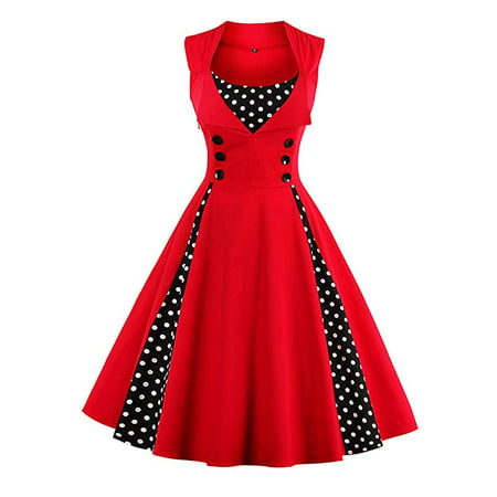 Women's Polka Dot Retro Vintage Style Cocktail Party Swing Dress (20s Dress Style)