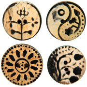Handmade Horn Buttons - Flower Carvings - Circle 4/Pkg
