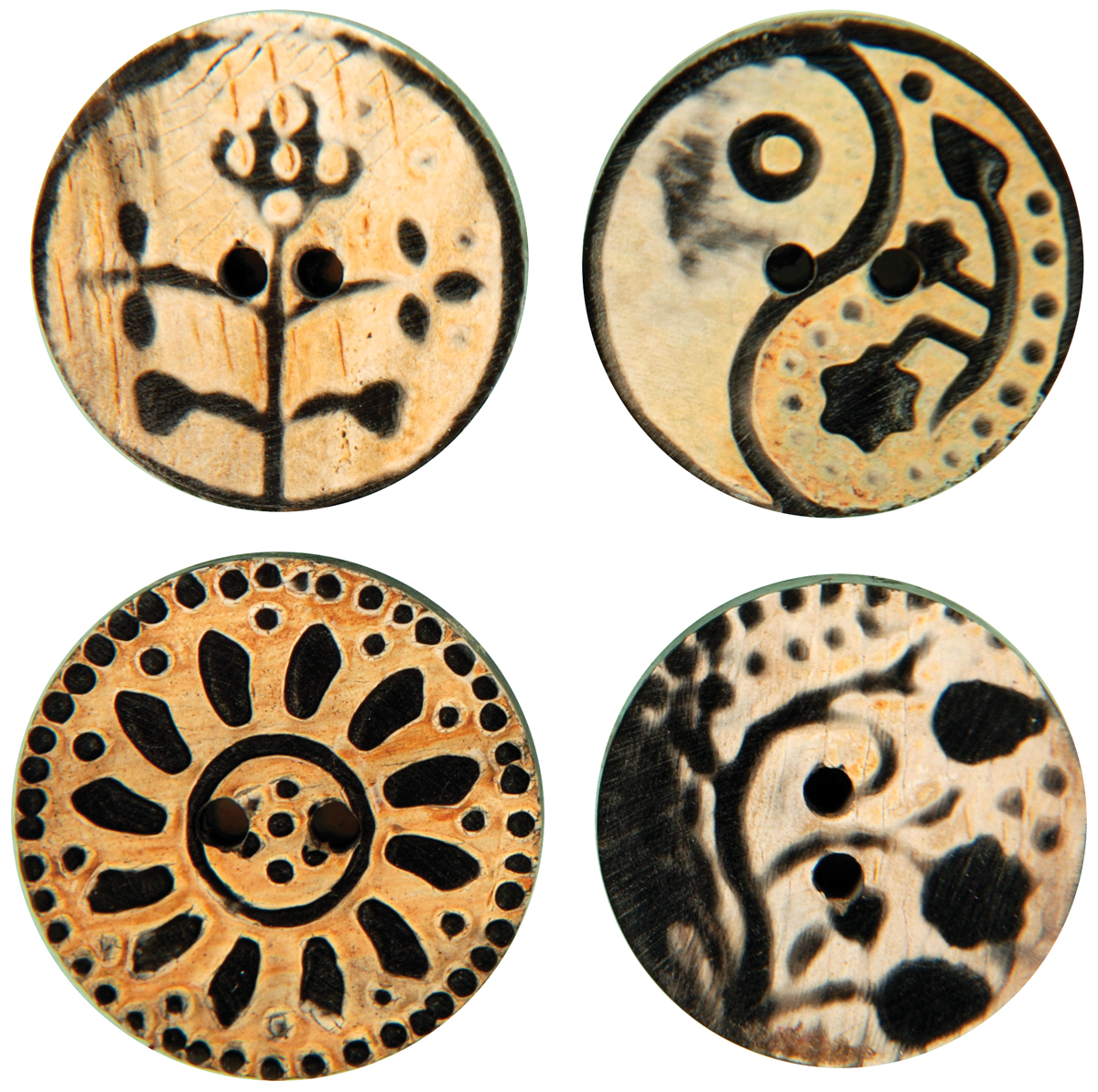 Handmade Horn Buttons - Flower Carvings - Circle 4/Pkg