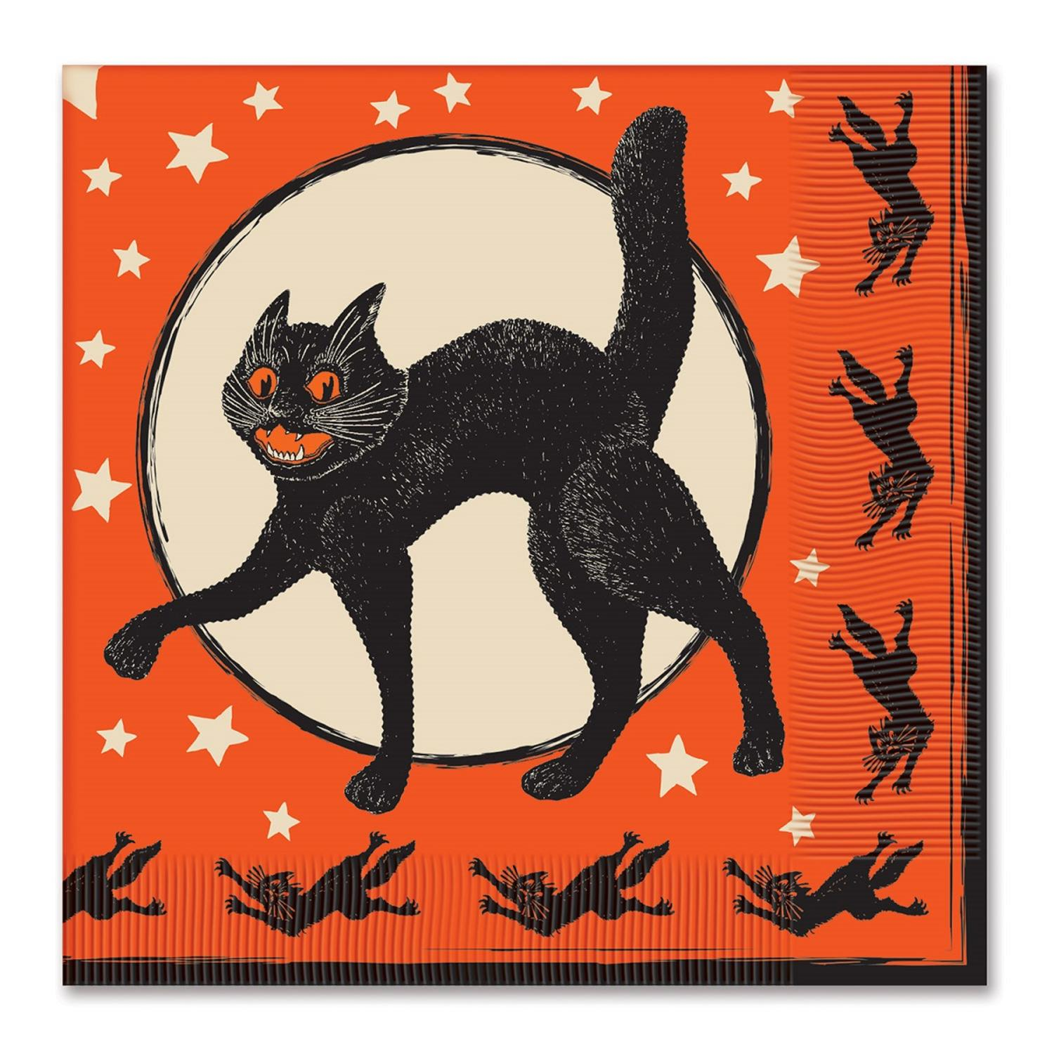 """Club Pack of 192 Orange and Black 2-ply Vintage Cat and Moon Disposable Party Lunch Napkins 6.5"""""""