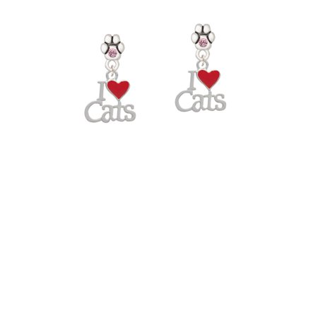 I Love Cats with Red Heart - Light Pink Crystal Paw (Crystal Pad)