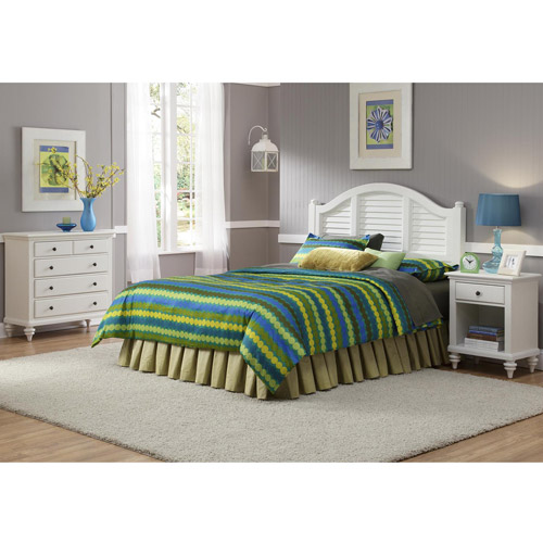 Home Styles Bermuda Headboard, Night Stand and Chest, Brushed White