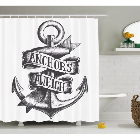 Anchor Shower Curtain Tattoo Style Old Navy Symbol Sketch With