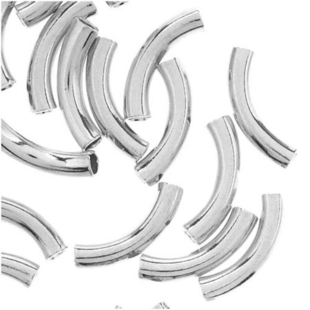 Silver Plated Curved Noodle Tube Beads 2mm x 10mm