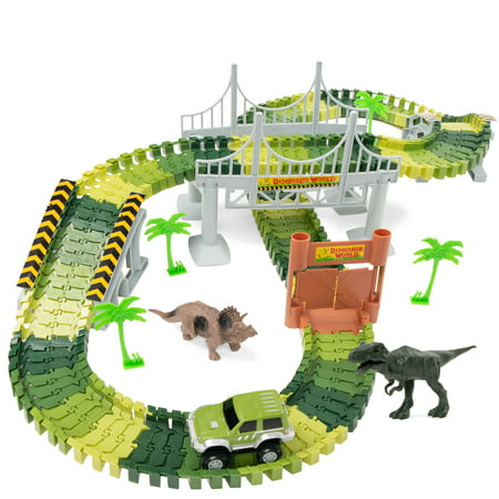 Best Choice Products 142-Piece Kids Big Robot Dinosaur Figure Racetrack Toy Play Set w/ Battery Operated Car