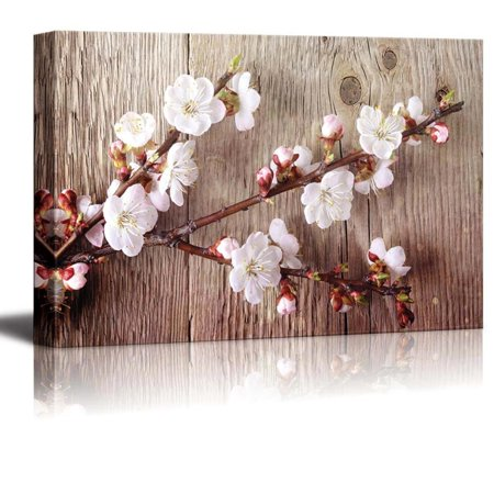 wall26 Canvas Prints Wall Art - A Branch with Cherry Blossom on Vintage Wood Background Rustic Home Decoration - 24