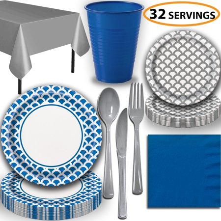 Disposable Tableware, 32 Sets - Royal Blue and Silver Scallop - Dinner Plates, Dessert Plates, Cups, Lunch Napkins, Cutlery, and Tablecloths:  Party Supplies Set