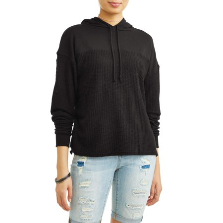 Juniors' Waffle Knit Contrast Pullover Hoodie