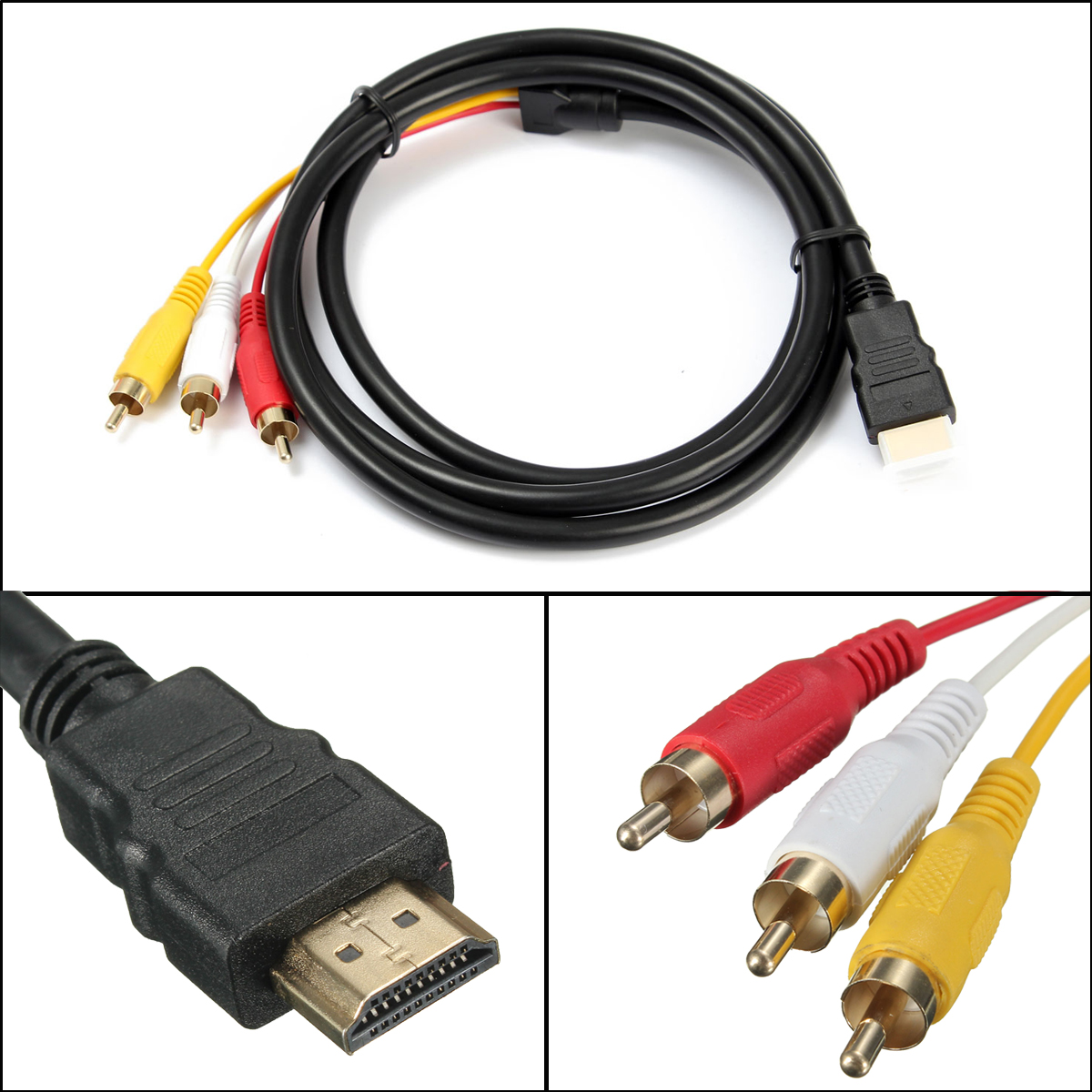 Black 1080P High Definition Multimedia Interface-Male To 3 RCA Video Audio AV Cable Adapter For HDTV 5 Feet 1.5m