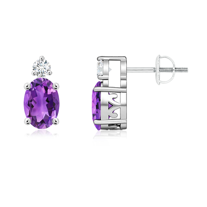 Angara Basket-Set Amethyst and Diamond Stud Earrings in Platinum 000ZXPvQhm