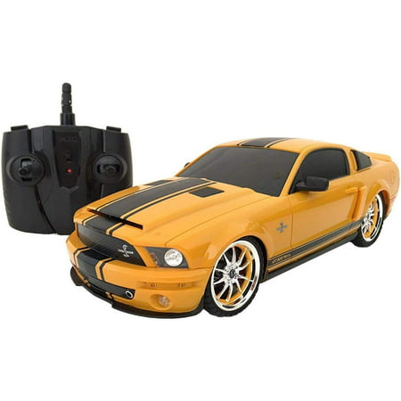 2.4Ghz RC Ford Mustang Shelby GT500 Super Snake 1/18 Scale Radio Remote Control Car Yellow w/Black Stripes Scale Tech Snake