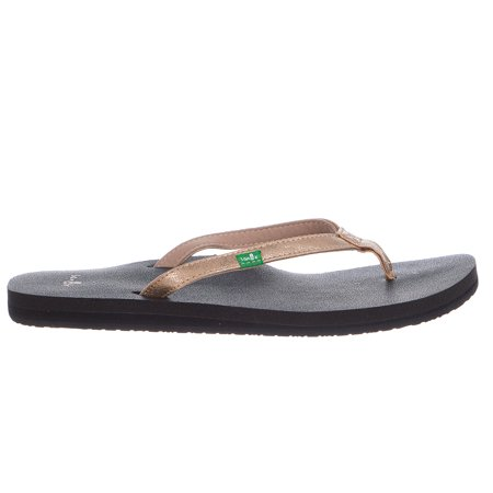 Sanuk Women's Yoga Joy Metallic Flip Flop, Champagne, 10 M US