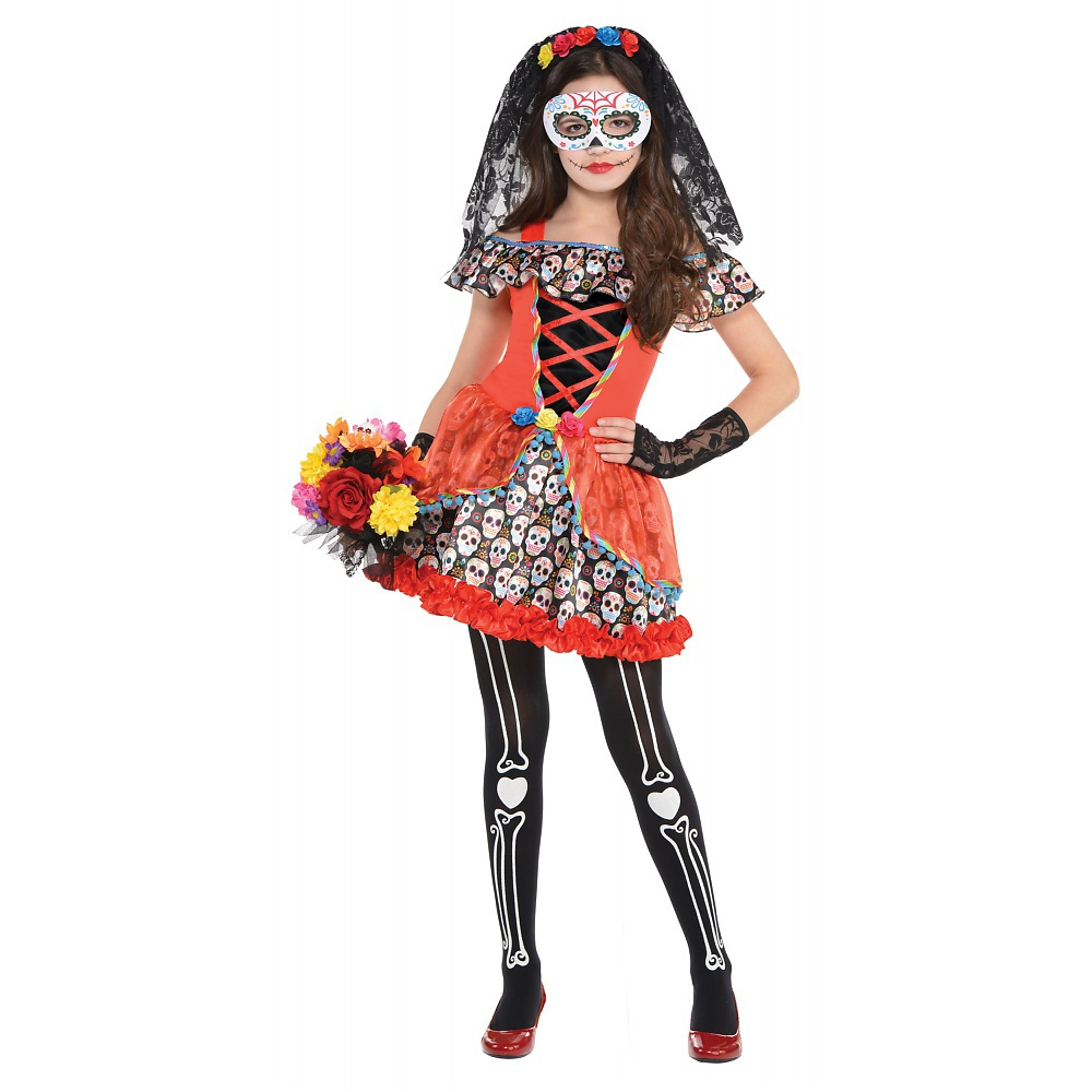 Sugar Skull Senorita Child Costume - Large