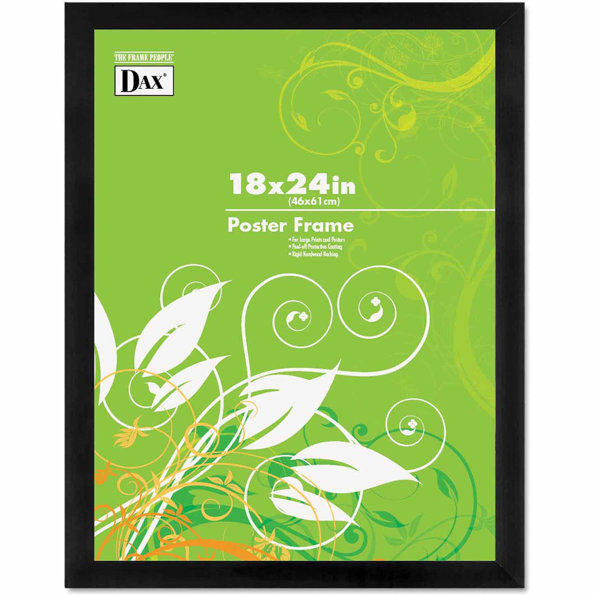 """DAX Black Solid Wood Poster Frames with Plastic Window, Wide Profile, 18"""" x 24"""""""