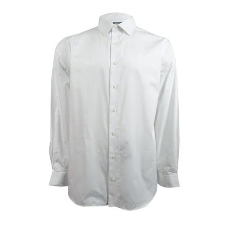 Kenneth Cole Reaction Men's Slim-Fit Solid Dress Shirt (18 34-35, White)