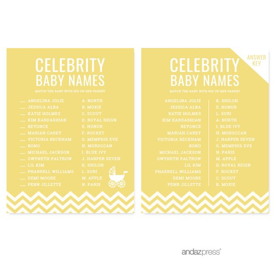 Celebrity Name Game Yellow Chevron Baby Shower Games, 20-Pack
