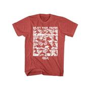 Street Fighter SELECT SCREEN XL T-shirt Red Heather Adult Men's Unisex Short Sleeve T-shirt