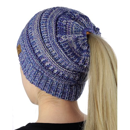 531da818249b3 NYFASHION101 - C.C BeanieTail Soft Stretch Cable Knit Messy High Bun  Ponytail Beanie Hat