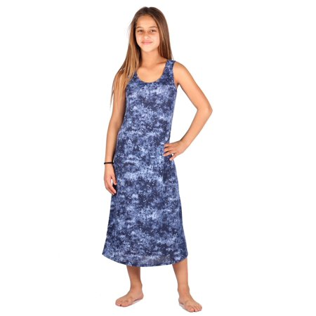Lori & Jane Girls Blue White Sleeveless Summer Trendy Casual Dress - Blue Girls Dress
