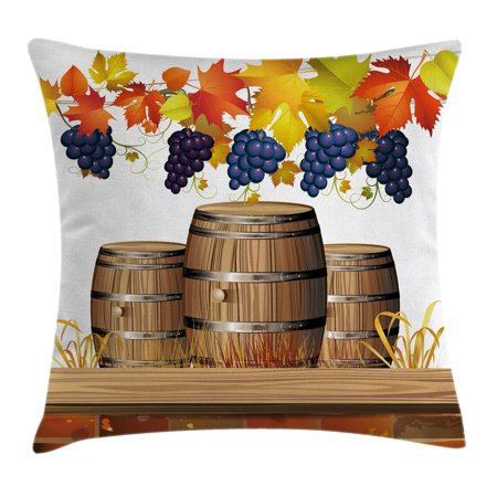 Grapes Home Decor Throw Pillow Cushion Cover, Wood Wine Barrels with Faded Golden Autumn Leaves Fall Sunlight Design, Decorative Square Accent Pillow Case, 18 X 18 Inches, Orange Brown, by Ambesonne Gold Grapes Accents