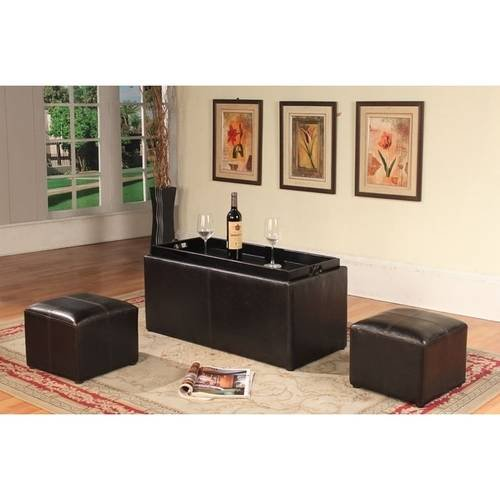 Roundhill Espresso Bonded Leather Storage Coffee Table