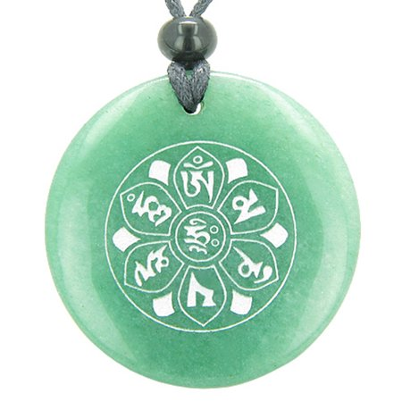 Om Mani Padme Hum Mantra Amulet Green Quartz Magic Circle Pendant