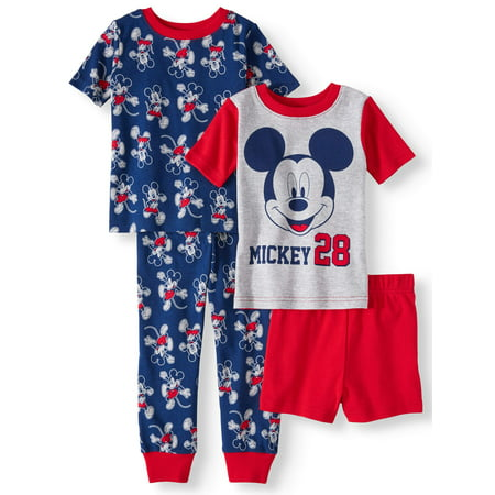 Mickey Mouse Toddler boys' cotton tight fit pajamas, 4-piece set