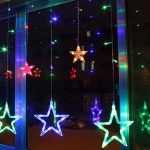LED Star Curtain String Light, 138 LED Fairy Hanging Strip Lamp Window Christmas Light for Bedroom Kids Room Wedding Party Hallowen Birthday Tree