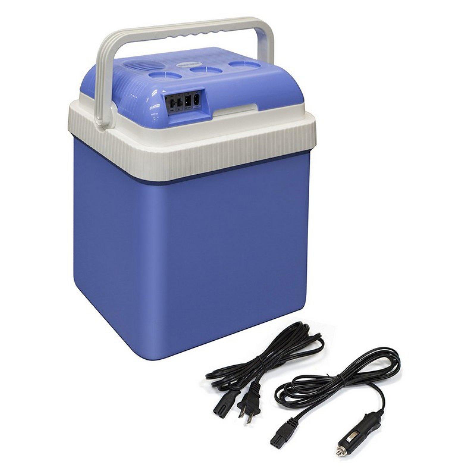 ALEKO CARFR24BL Portable Car Fridge Travel Cooler Warmer 12V 24 Liter Capacity, Light Blue Color