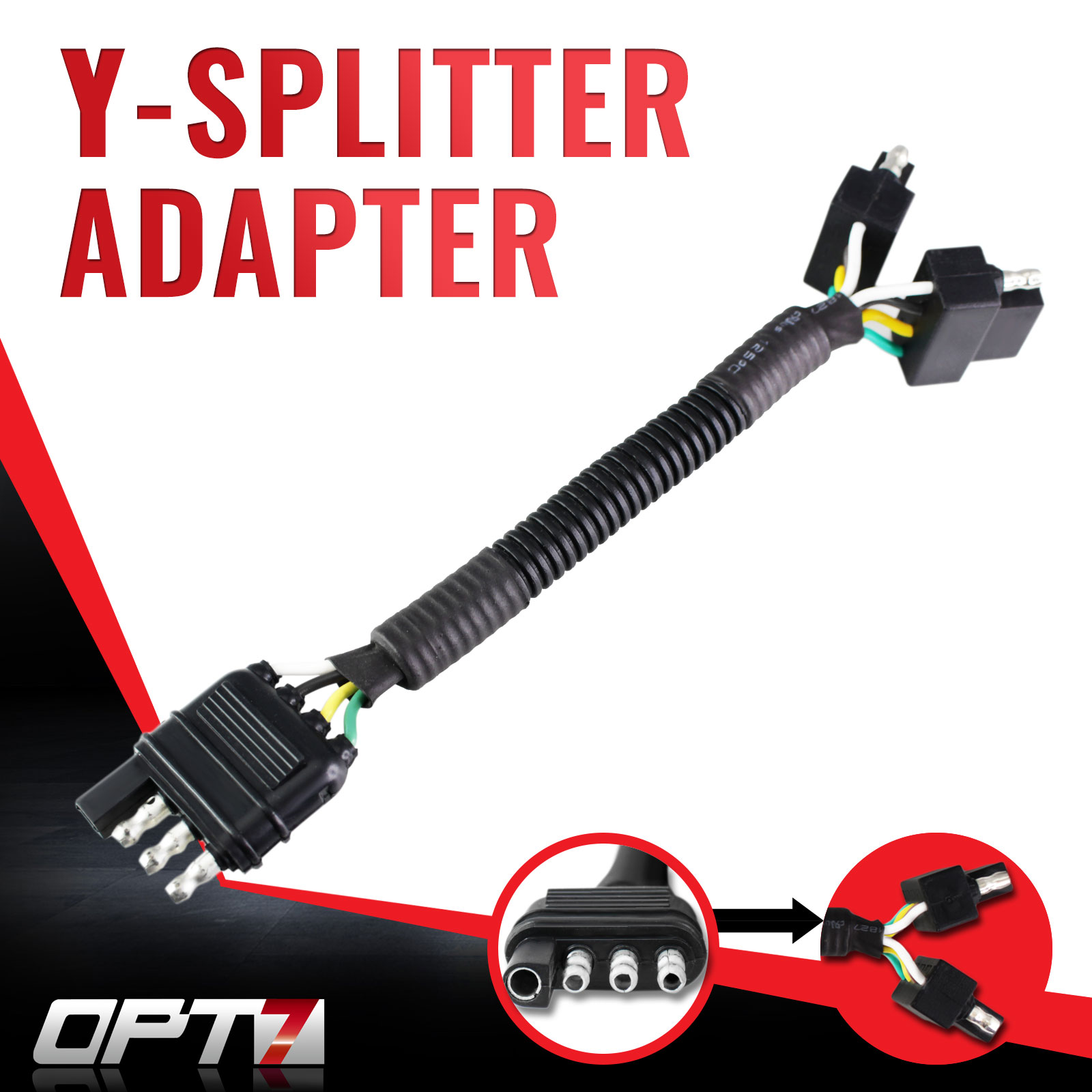 OPT7® Y Splitter 4 Tow Pin Connector Adapter Harness Wiring for Truck Tailgate to Attach to Trailers, LED Tailgate Light Bars, Boats, Towing, Construction & Safety Lighting – Weatherproof Construction