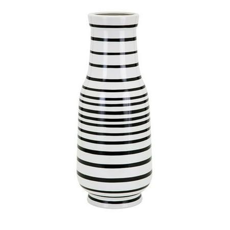 "18.25"" Black and White Striped Parisa Large Decorative Ceramic Vase - Black And White Vases"