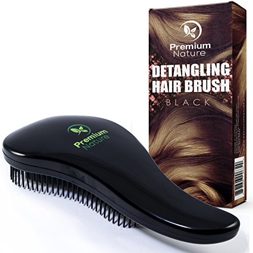 Detangling Hair Brush Best Detangler Comb - No Pain Detangler Brush For Curly Wavy Thick or Thin Hair - Black Purple and Combo Set - Premium Nature (Black)