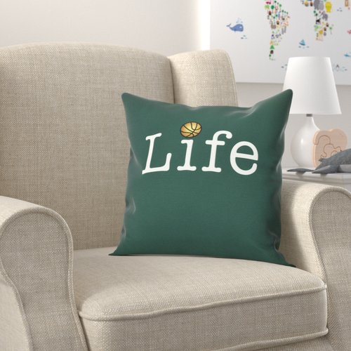 Zoomie Kids Bauer Life and Ball Word Throw Pillow