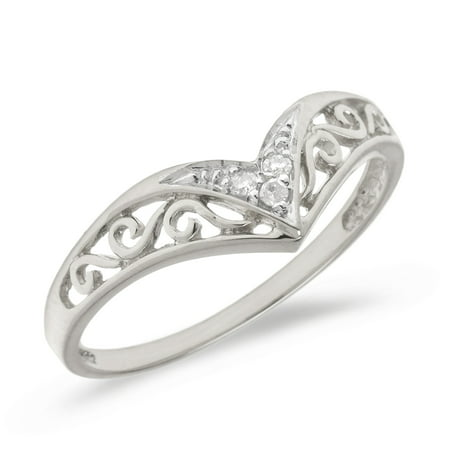 10K White Gold Filigree Band Diamond Chevron Ring