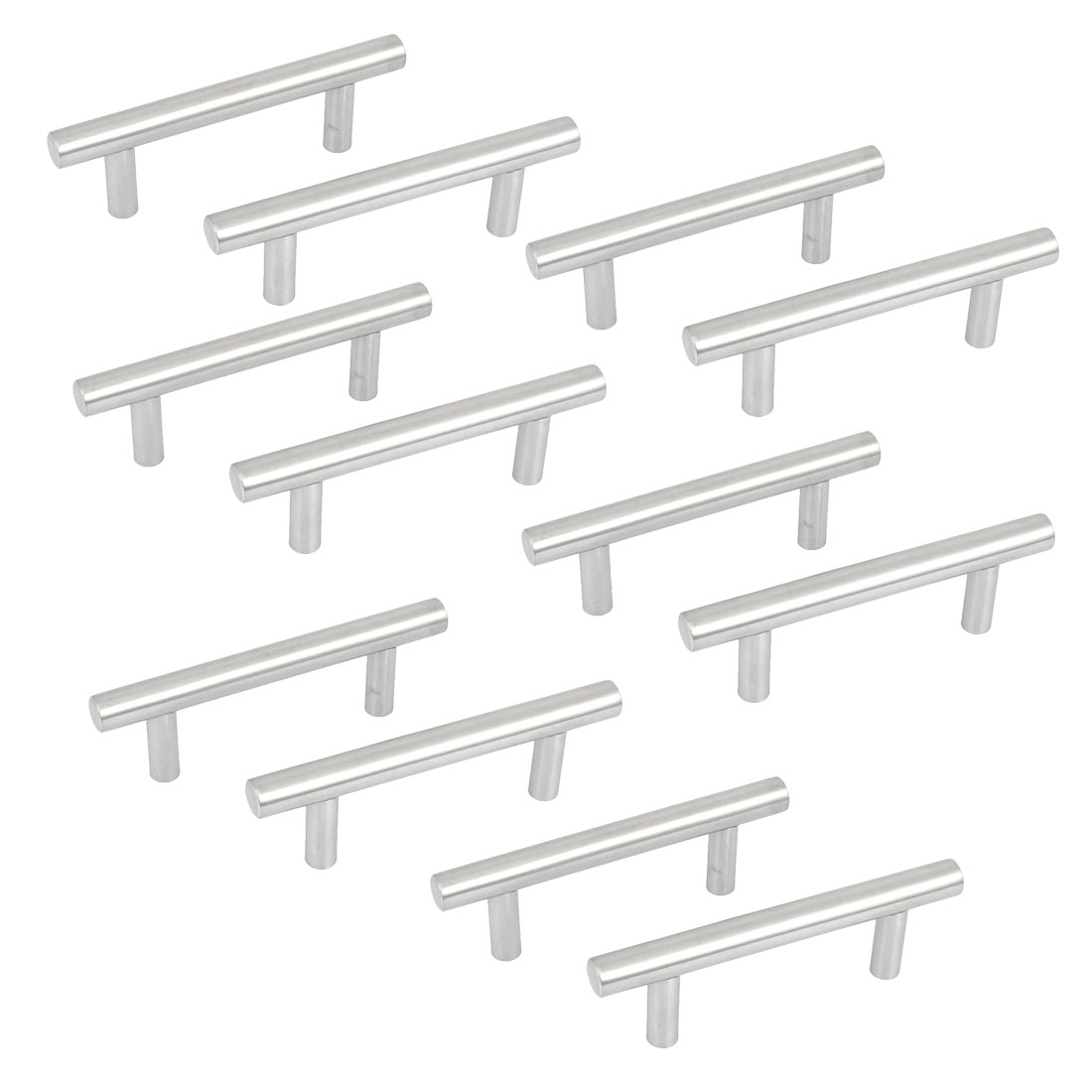 12pcs Stainless Steel Kitchen Cupboard Cabinet Drawer T Bar Pull Handle Knob 4""