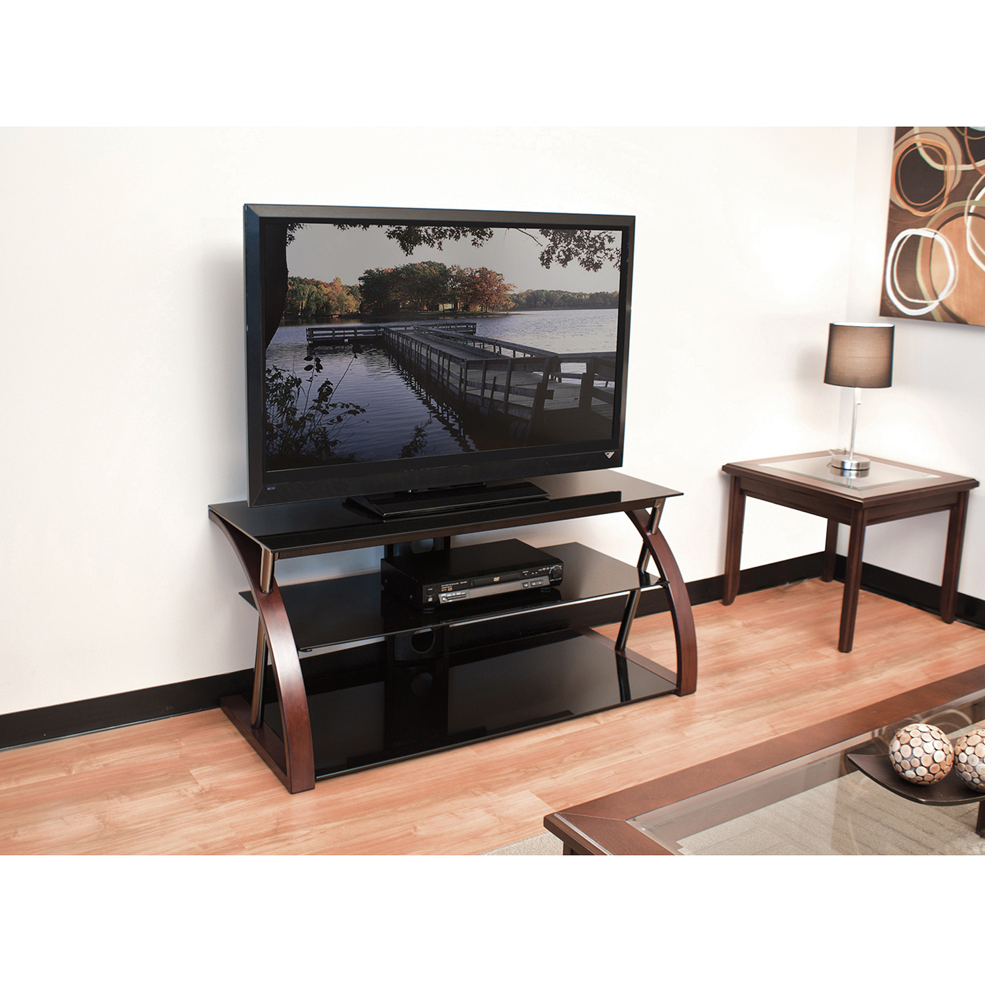 Techcraft 48 Wood Metal And Glass Tv Stand For Tvs Up To 55